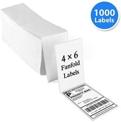 USA Fanfold 4X6 Direct Thermal Labels 1000 Labels Perforated White Mailing Postage Address Labels Compatible With Zebra 2844 Rollo Ups Fedex Amazon