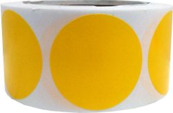 InStockLabels.com Yellow Color Coding Labels Round Circle Dots 2 Inch 500 Total Adhesive Stickers