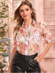 Floral Puff Sleeve Sheer Organza Blouse
