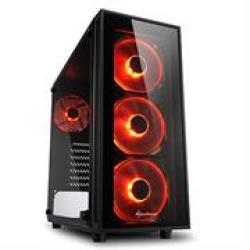 Sharkoon TG4 Red Atx Tower PC Gaming Case Black - USB 3.0 Mounting Possibilities: 2 X 3.5 4 X 2.5 Top I o: 2X USB