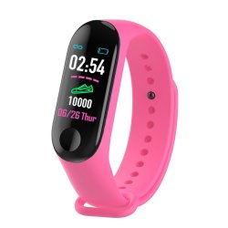 SADI Store Bakeey HD Color Screen Wristband Blood Pressure Heart Rate Monitor Running Route Track Camera Control Smart Watch - Pink