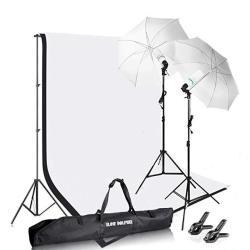 Photography Photo Video Studio Background Stand Support Kit With Muslin Backdrop Kits White Black 1050W 5500K Daylight Umbrella