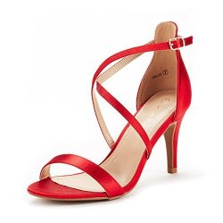Dream Pairs Women's Dolce Red Satin Fashion Stilettos Open Toe Pump Heel Sandals Size 8.5 B M Us
