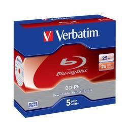 Verbatim - 25GB Blu-ray Bd-re Sl 2X - Jewel Case Box Of 5 - Wsl
