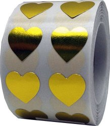 InStockLabels.com Metallic Gold Heart Stickers For Valentine's Day Crafting Scrapbooking 1 2 Inch 1 000 Adhesive Stickers