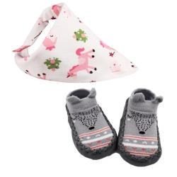 Baby Booties Set Of Two With Bib Grey 14 Cm