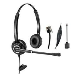 Telephone Headset Dual Ear RJ9 Wired Call Center Headset With Noise  Cancelling Microphone For Desk Phones Avaya Plantronics Poly | R1250 00 |  Handheld