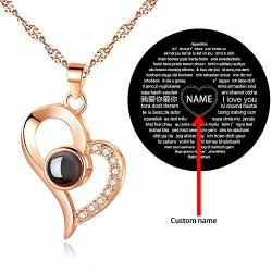 84dd8967b Kspace I Love You Necklace 100 Languages Custom Your Lover's Name In The  Sterling Silver Projection Necklace