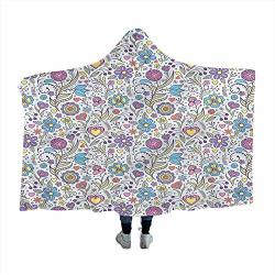 Pastel Wearable Hooded Blanket Doodle Botany Garden Toddlers Plush Soft Kids Blanket 50X40 Inches