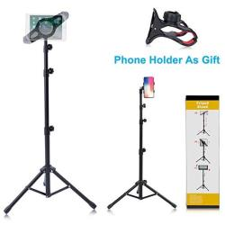 T-Sign Reinforced Ipad Tripod Stand Mount - Foldable Floor Tablet Holder Height Adjustable 360 Rotating Stand For Ipad Mini air