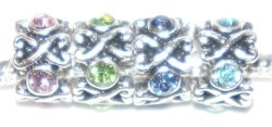 PACK Of 4 Green Pink Blue And Dark Blue Spacer Beads. Compatible With Troll Zable Baigi Chamilia And Many More Charm Bracelets.