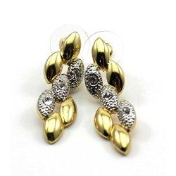 HuntGold 1 Pair Women Diamond Twisted Wheat Shape Plated Earrings Eardrop Pierced Ear Studs