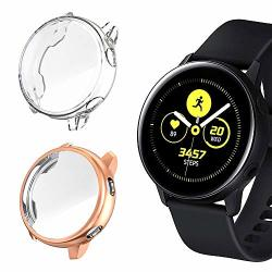 Leotop 2 Pack Screen Protector Compatible With Samsung Galaxy Watch Active 40MM Case Soft Tpu Plated Protective Cover Ultra-thin Bumper Frame Compatible Galaxy Watch Active