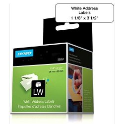 "Dymo Lw Address Labels Black On White 1 1 8"" X 3 1 2"" - Lot Of 2"