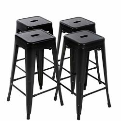 FDW Bar Stools Set Of 4 Counter Stool Metal Bar Stools 30 Inches Height Industrial Bar Chairs Patio Stool Stackable Modern Backless Indoor Outdoor