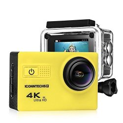 ICONNTECHS IT Action Camera For Sports Photography Uhd 4K 24FPS 1080P 60FPS IMX078 Sensor 70-170 Wide Angle Lens Waterproof Up To 30M By Yellow