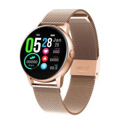 DT88 1.22 Inch Full Circle Full Touch Steel Strap Smart Sport Watch IP68 Waterproof Support Real-time Heart Rate Monitoring Sleep Monitoring Bluetooth Alarm Clock Pink