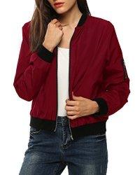 Zeagoo Women Classic Solid Biker Jacket Zip Up Bomber Jacket Coat Wine Red Medium
