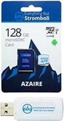 Everything But Stromboli 128GB Azaire Micro Memory Card For Samsung Galaxy Phone Works With S20 S20+ Plus S20 Ultra 5G S10 Lite Speed Class