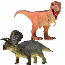 """Trimagic Super Large Realistic Dinosaur Toys - 17"""" T-rex 14"""" Triceratops Unique Gift For Toddlers And 3 - 12 Year Old Kids Boys Additional"""