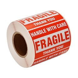 """Sjpack 500 Fragile Stickers 1 Roll 2"""" X 3"""" Fragile - Handle With Care - Thank You Shipping Labels Stickers 500 Labels roll"""