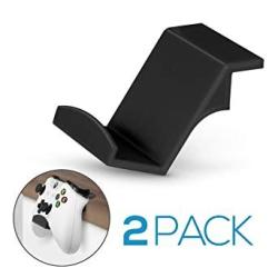 USA Game Controller Desktop Stand Holder 2 Pack For Xbox One 360 Switch PS4 Steam PC Nintendo Universal Gamepad Accessories - No Screws Stick On Blac