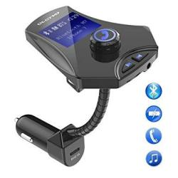 Car Bluetooth Fm Transmitter Phone Charger Adapter Wireless Player Radio Connection w USB Port Support Aux Input 1.44 Inch Display Tf Card Slot Hands