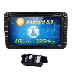 Android 8.0 Octa-core 8 Inch Double Din Car DVD Player For Vw Volkswagen Jetta Golf 5 6 Skoda Passat Caddy T5 Seat With