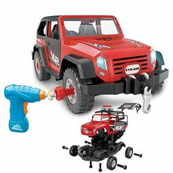 FYD Take Apart Toy Car 35 Pieces Set Diy Assembly Car Toy Construction Kit Realistic Lights & Sounds With Electric Toy Drill For Boys