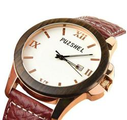 Puzshel Mens Watch With Classic And Rich Look Rose Gold Stainless Steel Lug And Brown Sandalwood Wood Frame Antique Rose Pink Genuine Leather Band