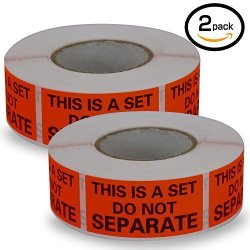 "BETCKEY 2 ROLLS 1000 Labels This Is A Set Do Not Separate Fluorescent Red Fba Packing Labels 1"" X 2"""