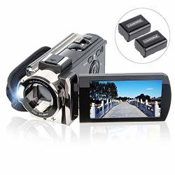 Video Camera Camcorder Digital Youtube Vlogging Camera Recorder Kimire HD 1080P 15FPS 24MP 3.0 Inch 270 Degree Rotation Lcd 16X Digital Zoom Camcorder With 2 Batteries