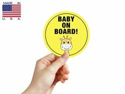 """Baby On Board Safety Cars Stickers - Pack Of 2 5"""" Round Logo Sign Decal Labels Self-adhesive Vinyl Laminated. Waterproof Indoor And Outdoor"""