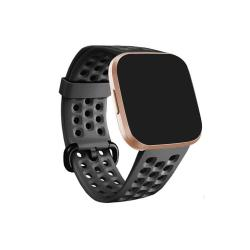 For Fitbit Versa 2 Breathable Silicone Watch Band Black