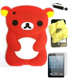 BUKIT CELL Red Bear 3D Cartoon Soft Silicone Skin Case Cover For Apple Ipad MINI 16GB 32GB 64GB Wifi And 4G LTE Versions