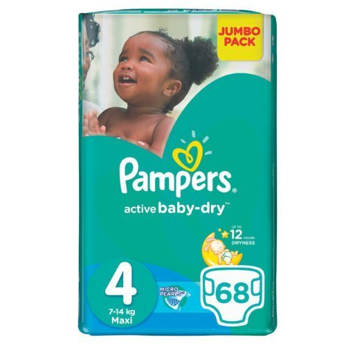Pampers Active Baby Dry 68 Nappies Size 4 Jumbo Pack