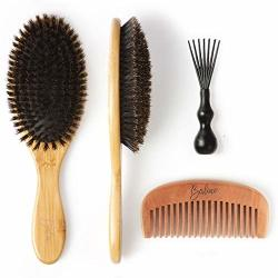 Baline Boar Bristle Hair Brush Natural Hair Brushes For Women Mens Hair Brush Round Bamboo Wooden Paddle Hairbrush Comb Set For R139000 Haircare