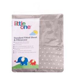 LITTLE ONE - Standard Fitted Sheet And Pillowcase Grey