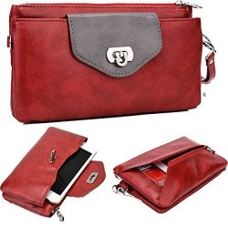 NuVur 153 Women's Colorblock Universal Smartphone Wrislet Wallet Clutch Fits Huawei G8 Mate S|red