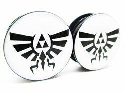 Zelda Wingcrest Triforce Ear Plugs - Acrylic Screw-on - 10 Sizes - Brand Newpair 0 Gauge 8MM