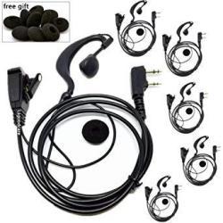 2 Pin G Shape Earhook Earpiece Headset Ptt With Microphone Compatible For Baofeng UV5R Kenwood TK-3170 TK-3200L TK-3300 TK-272 Walkie Talkie Earphones