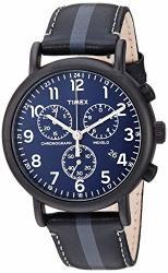 Timex Men's TWF3C8400 Weekender Chrono Black gray Stripe blue Two-piece Leather Strap Watch