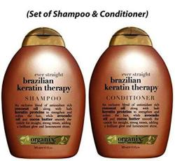 Ogx Ever Straight Brazilian Keratin Therapy Shampoo And Conditioner 13OZ Set Of 2