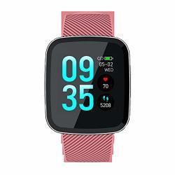 Pxyuan Fitness Tracker IP67 Waterproof Activity Tracker With Heart Rate Monitor Screen Smart Watch Dynamic Heart Rate Information Push Waterproof Bluetooth Sports Bracelet-pink