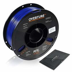 Overture Petg Filament 1.75MM With 3D Build Surface 200 X 200 Mm 3D Printer Consumables 1KG Spool 2.2LBS Dimensional Accuracy + - 0.05 Mm Fit Most Fdm Printer Blue