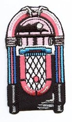 Wholesale Applique Jukebox - Pink blue black - Music - Iron On Applique embroidered Patch