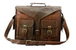 Handmade World Messenger Bag Leather Laptop Bags Computer Satchel Briefcase Unisex 15 Inch