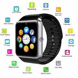 Changsha Hangang Technology Ltd Hangang GT08 Blue Tooth Smart Watch Support Sim & Tf Card smartwatch Notification Reminder Sleep Monitor Fitness Wristwatch Silver