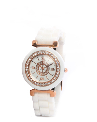 e6a10f7261184 Bad Girl Crush Analogue Watch In White & Rose Gold