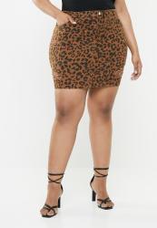 Missguided Leopard Print Ripped Denim Skirt - Brown